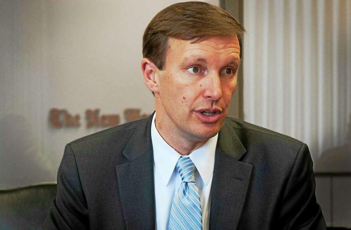 U.S. Sen. Chris Murphy, D-Conn., speaks to the New Haven Register editorial board.