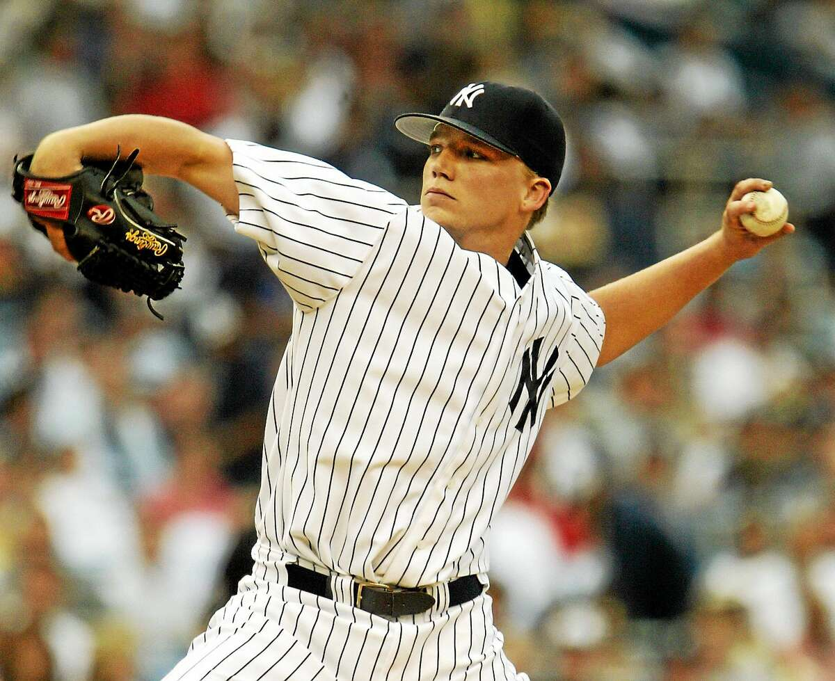 New York Yankees pitcher Brad Halsey delivers a pitch against the Boston Red Sox on July 1, 2004 at Yankee Stadium. During this game, Derek Jeter made his famous dive into the stands.