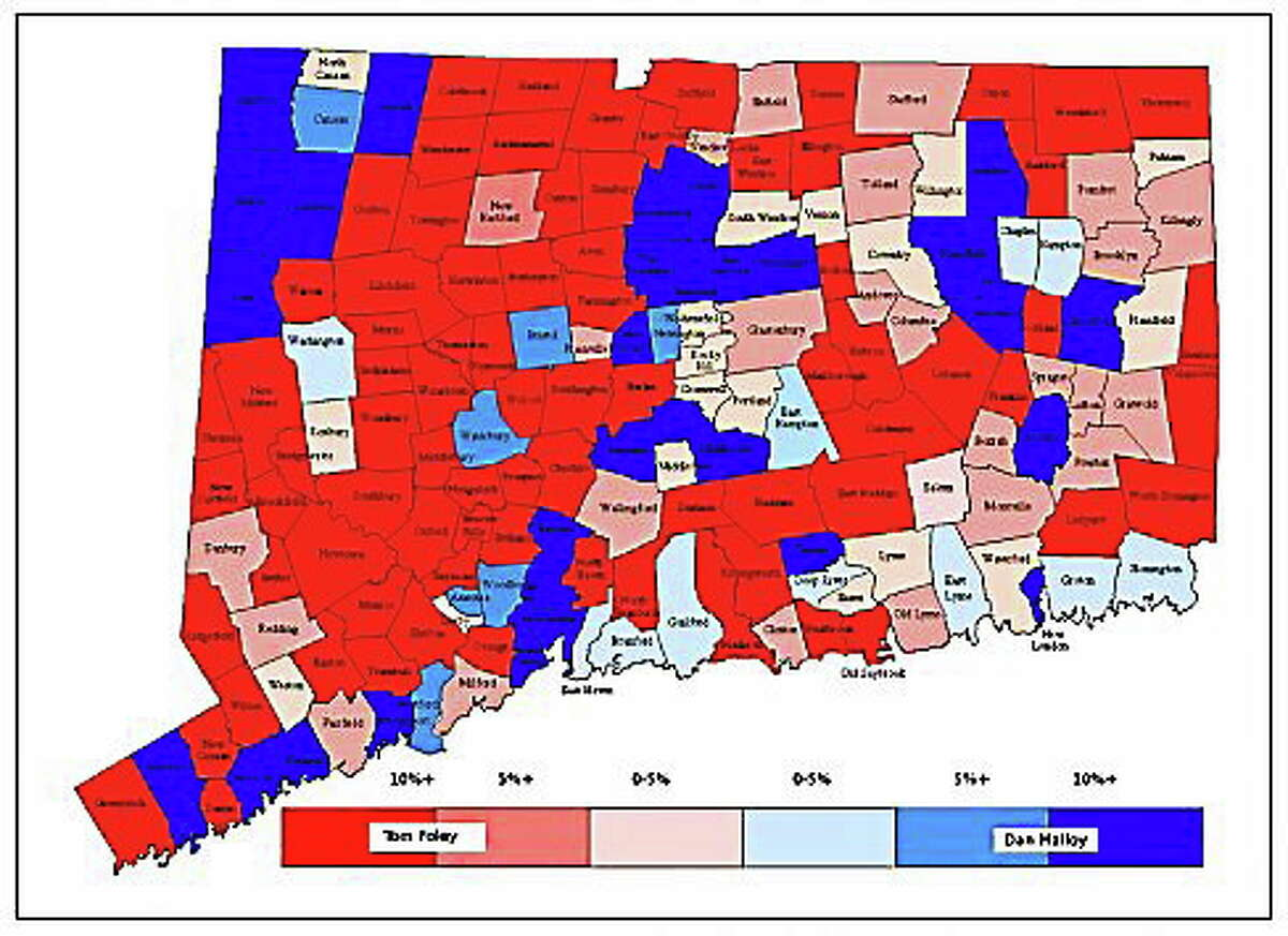 Map of the 2010 Connecticut governor's race.