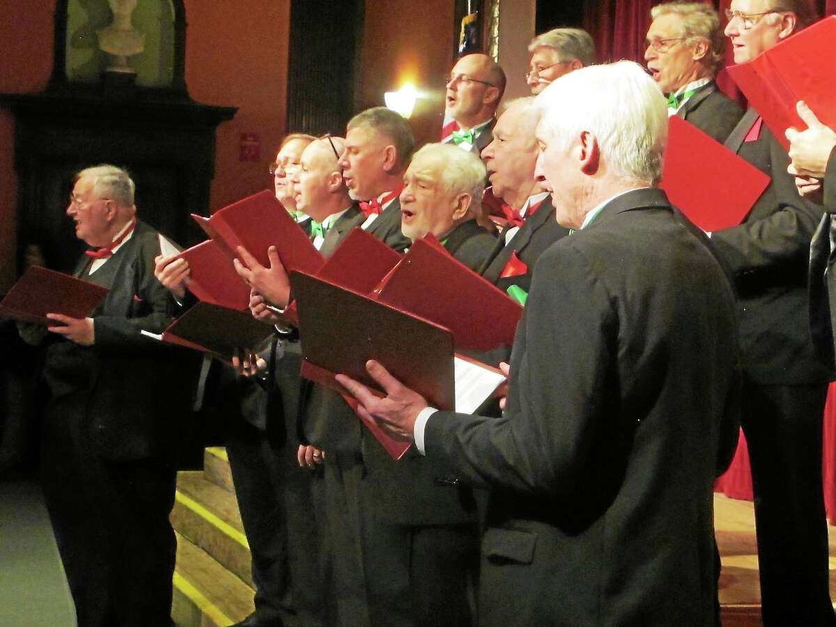 Contributed photos Valley Chordsmen members perform at last year's holiday concert. The group's next event is Nov. 14 in Waterbury.