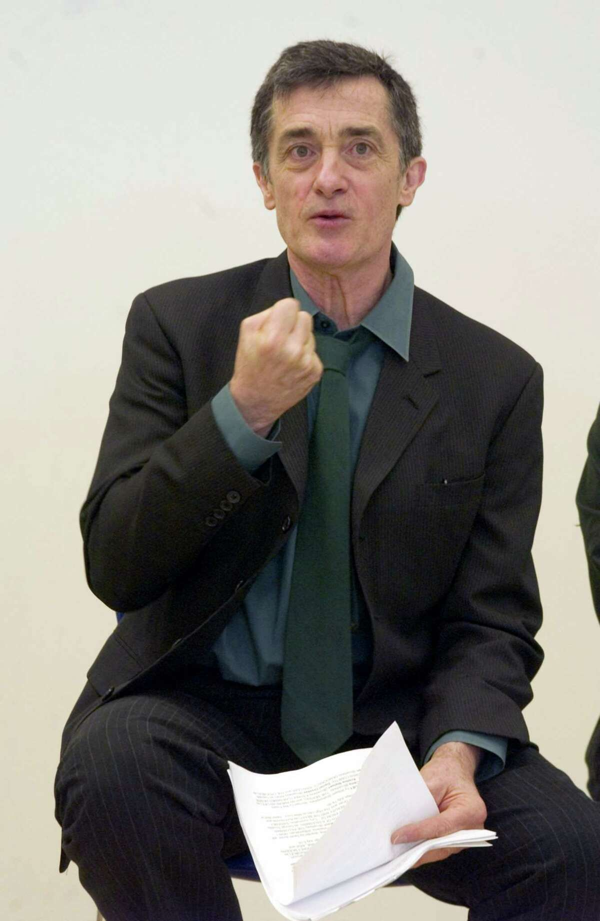 FILE - In this May 24, 2006, file photo, Roger Rees, artistic director of the Williamstown Theatre Festival in Williamstown, Mass., introduces the 2006 season during a news conference in New York. Rees, the Tony Award-winning Welsh-born actor and director who appeared on TVís ìThe West Wingî and was a mainstay on Broadway playing Gomez in ìThe Addams Familyî and Chita Riveraís doomed lover in ìThe Visit,î died Friday night, July 10, 2015, his representative Rick Miramontez said. He was 71. (AP Photo/Jim Cooper, File)