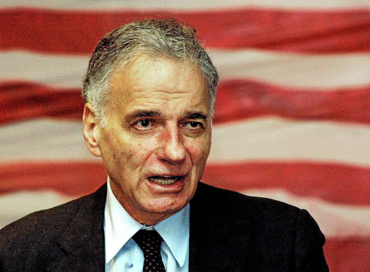 Ralph Nader speaks to supporters as he campaigns for his 2008 independent presidential bid in Waterbury, Conn.