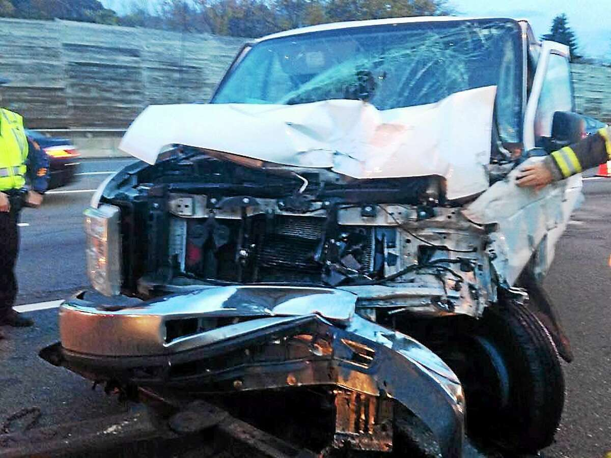 courtesy Old Saybrook Fire Department Old Saybrook firefighters responded to a four-vehicle crash on Intersate 95 southbound early Wednesday. Two people were treated for minor injuries.