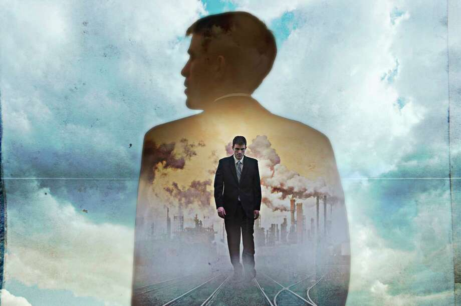 Double exposure of businessman in clouds Photo: Pete Saloutos, Contributor / This content is subject to copyright.
