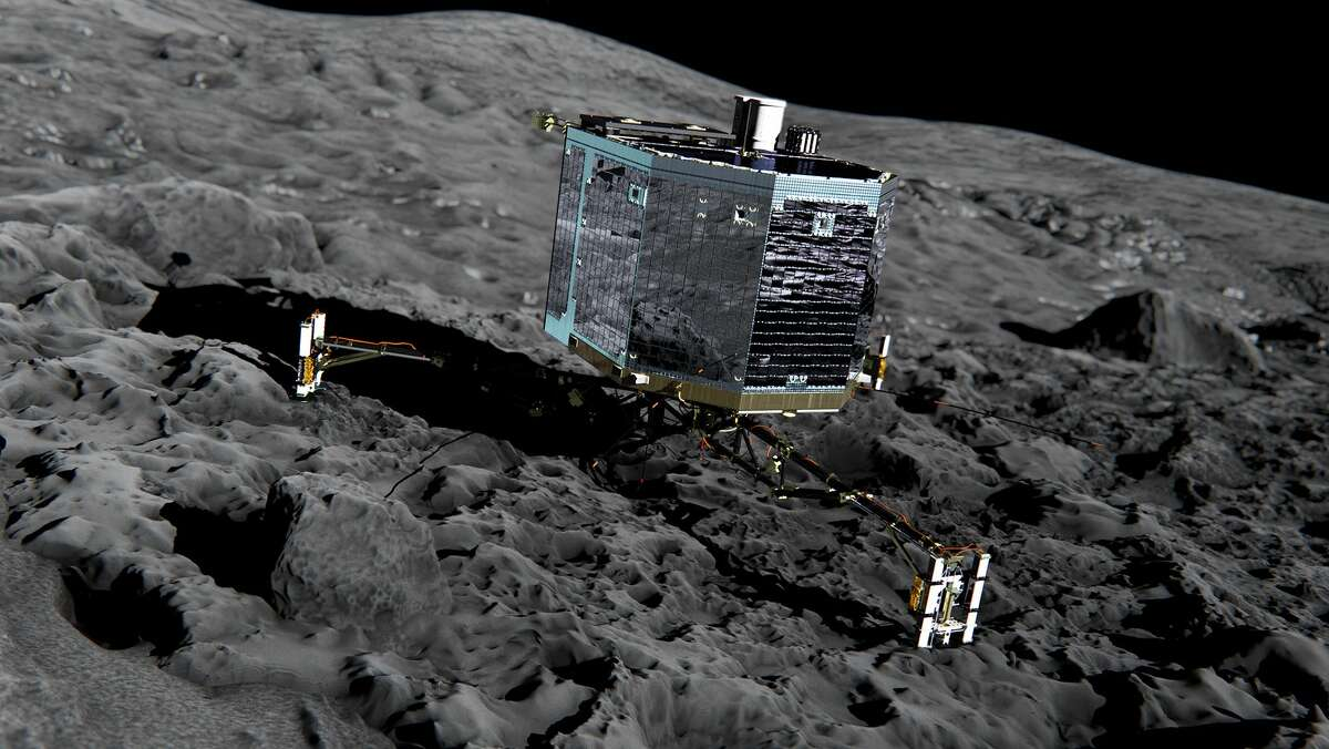 This undated artist impression by ESA /ATG medialab , publicly provided by the European Space Agency, ESA, shows Rosettaís lander Philae (front view) on the surface of comet 67P/Churyumov-Gerasimenko. The German space agency DLR, which controls the lander, says it received data from Philae over a 22-minute period late Thursday July 9, 2015, though the connection broke off several times. Scientists were joyous when the lander awoke from seven months of hibernation in June. But they have been unable to explain why Philae isnít communicating more regularly. (ESA/ATG medialab/ESA via AP)
