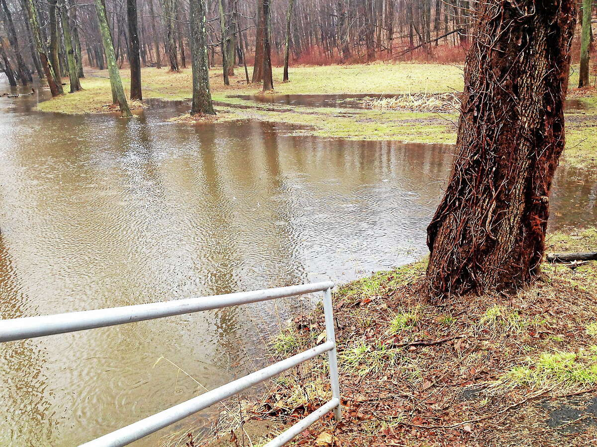 The Coginchaug River at Veterans Park in Middletown is experiencing minor flooding.