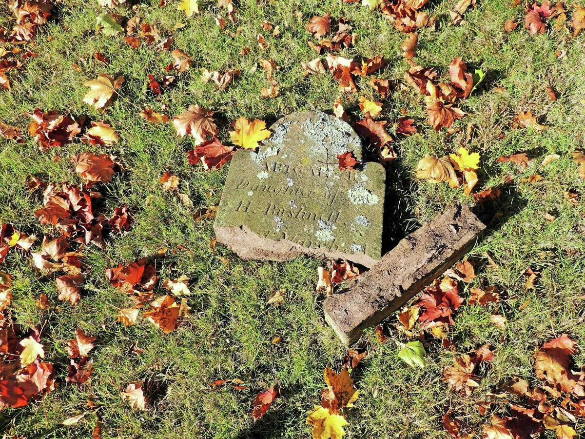 (Photo courtesy of Cathie Doane) Dozens of headstones were knocked over, damaged and moved this past weekend at the Old Burying Ground Cemetery on Old Clinton Road in Westbrook. Among them was the headstone of Abigail Bushnell, who died at the age of seven months.