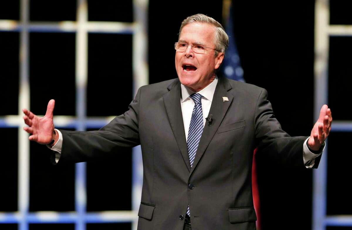 In this Oct. 23, 2015 photo, Republican presidential candidate Jeb Bush speaks during a presidential candidate forum at Regent University in Virginia Beach, Va.