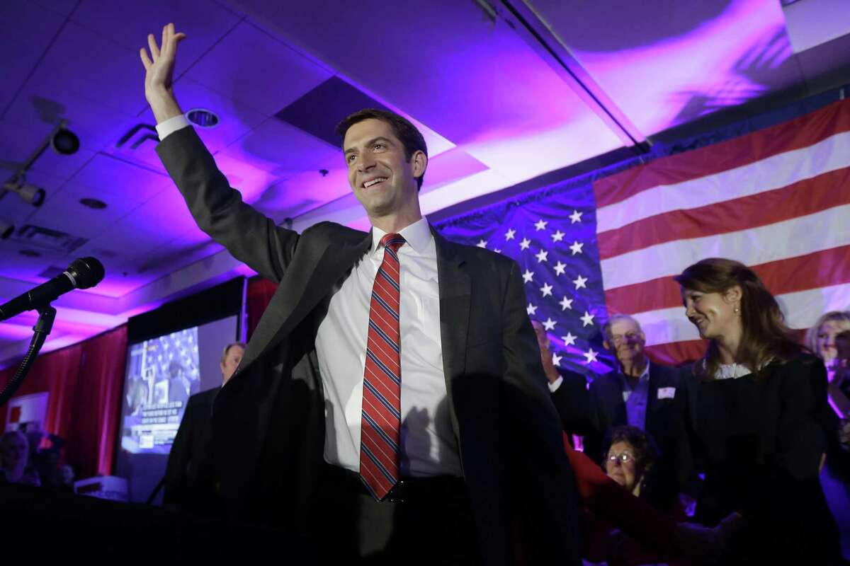 Rep. Tom Cotton, R-Ark. waves at his election watch party in North Little Rock, Ark., after defeating Sen. Mark Pryor, D-Ark., Tuesday, Nov. 4, 2014.