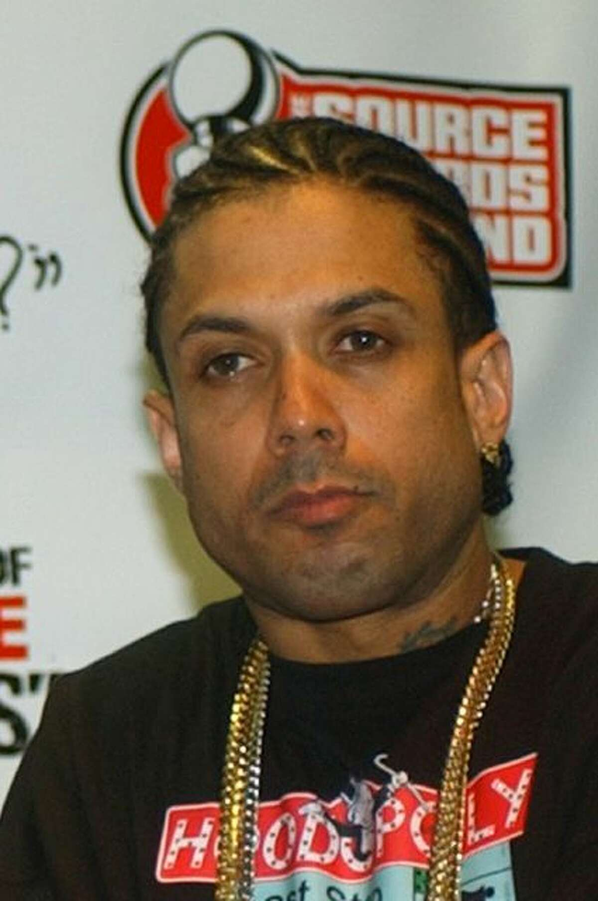 """File - This Oct. 10, 2004 file photo shows and Ray Benzino at the Source Hip-Hop Music Awards in Miami. Authorities say the reality TV star and rapper was shot and injured by his nephew while in a funeral procession for a family member in Massachusetts. Benzino, whose real name is Raymond Scott, is a cast member of the VH1 reality show """"Love & Hip Hop: Atlanta"""" and former co-owner of The Source magazine. (AP Photo/Alan Diaz, File)"""