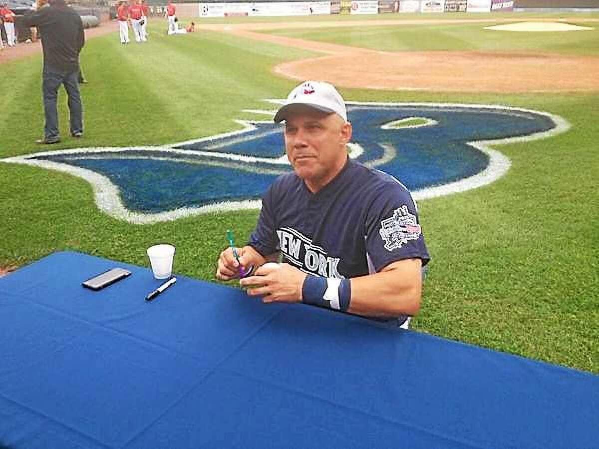 Jim Leyritz signs autographs at Harbor Yard in Bridgeport before Thursday's Legends Game.