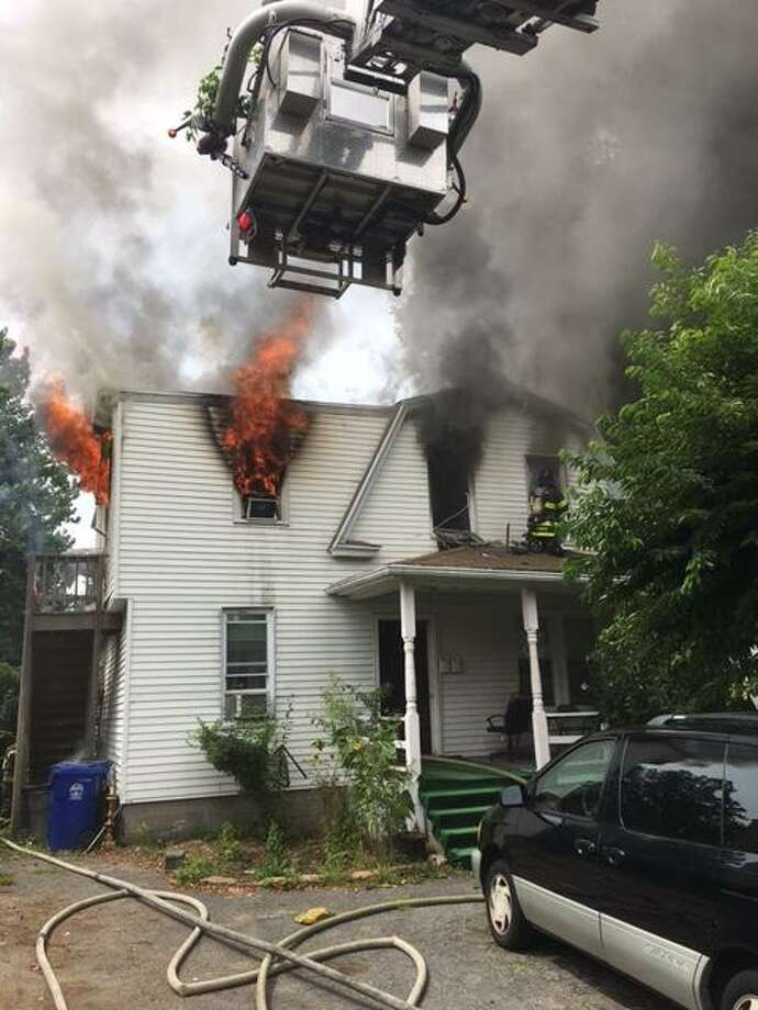 A fire in a house on Fair Street in Norwalk, Conn., has left about eight people homeless on Saturday, Aug. 12, 2017. Photo: Norwalk Fire Dept. / Contributed Photo