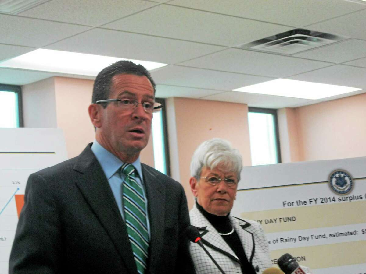 In this file photo, Gov. Dannel P. Malloy and Lt. Gov. Nancy Wyman announced their election-year tax relief at Derby City Hall.