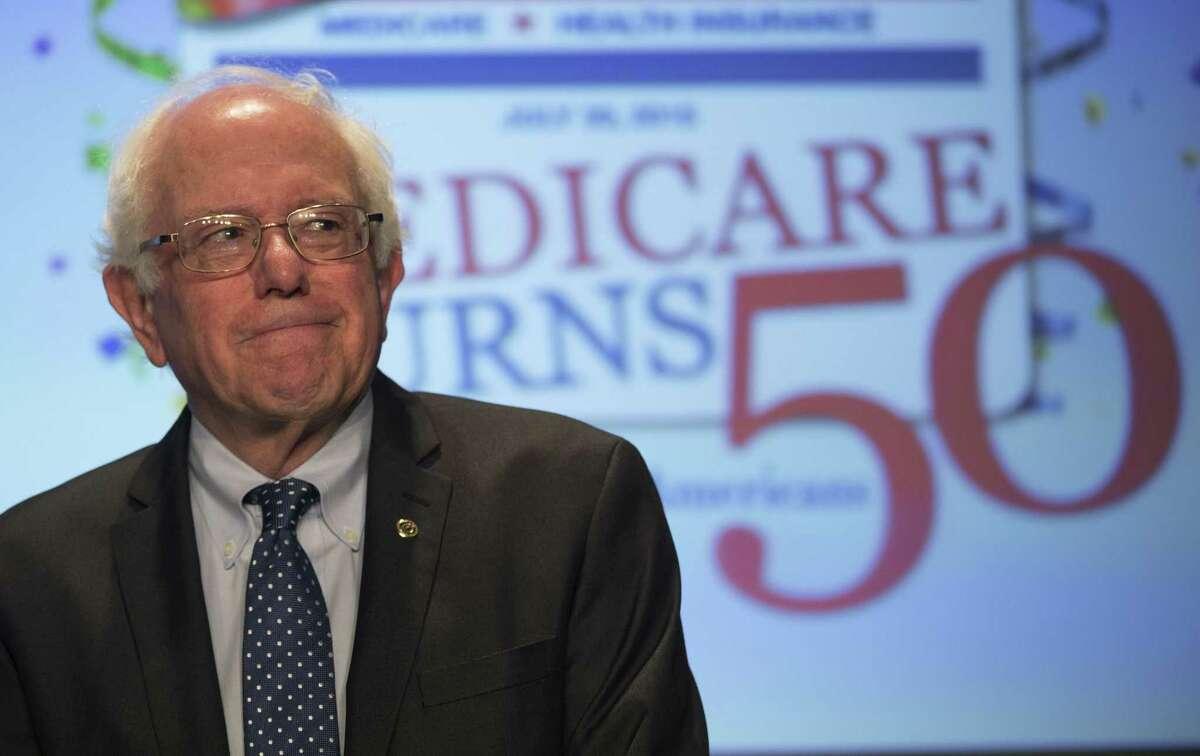 Democratic presidential candidate Sen. Bernie Sanders, I-Vt., waits to speak at the Alliance for Retired Americans 2015 National Legislative Conference in Washington Thursday.