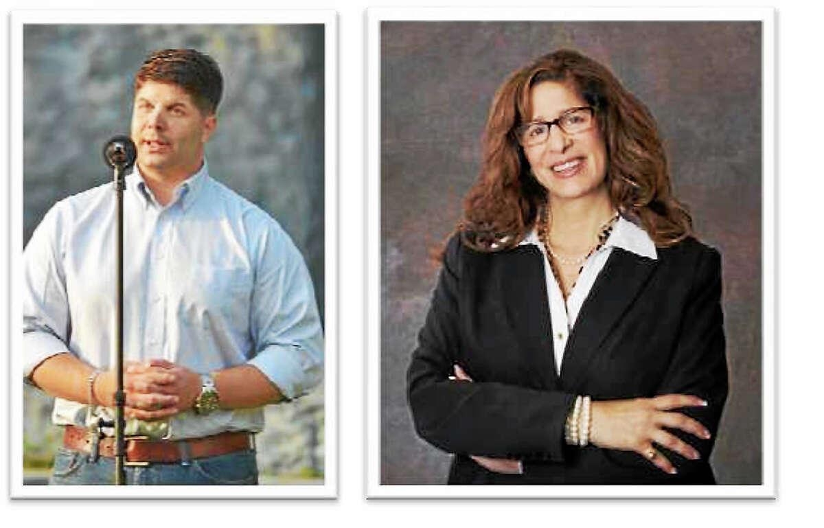 Middletown Mayor Dan Drew and his Republican challenger, Common Councilwoman Sandra Russo-Driska