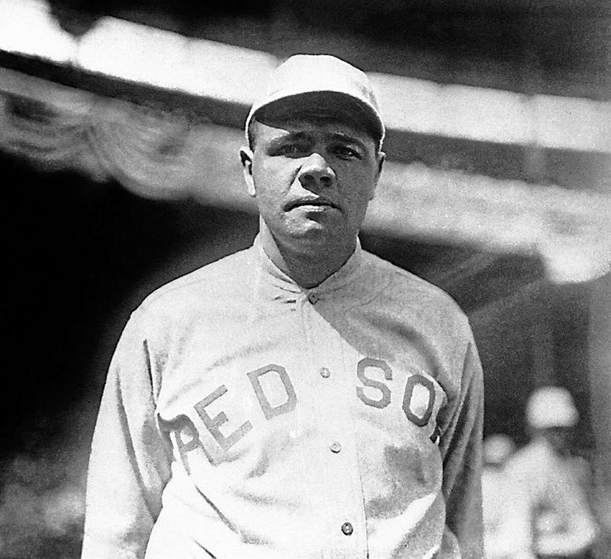 This 1919 file photo shows Boston Red Sox player Babe Ruth. Ruth played in the 1918 World Series against the Chicago Cubs that the Red Sox won 4-2. In a 1920 court deposition on display at the Chicago History Museum by Chicago White Sox pitcher Eddie Cicotte, one of the key members from the infamous 1919 Black Sox scandal, he hinted that the White Sox got the idea to throw the 1919 World Series after the Chicago Cubs threw the 1918 World Series.