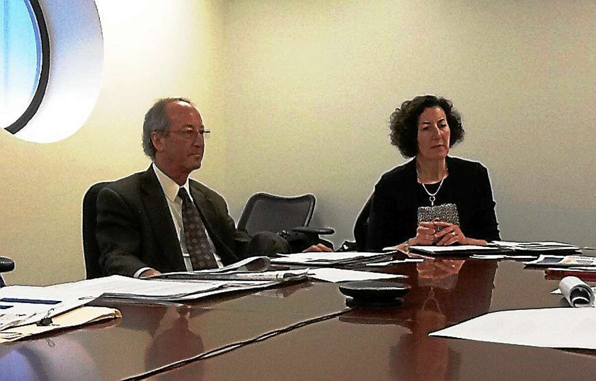 University of New Haven President Steven Kaplan and Connecticut Conference of Independent Colleges President Judith Greiman, during an editorial board meeting.