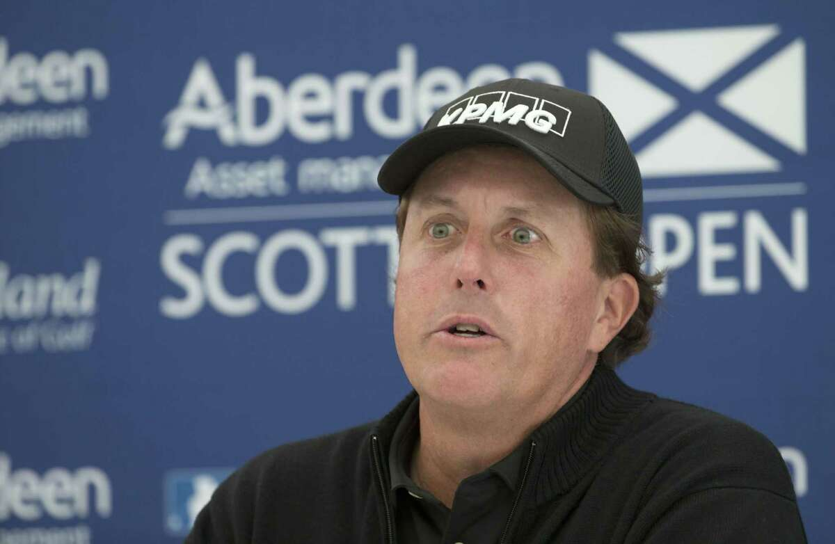 Phil Mickelson answers questions from the media during a preview day ahead of the Scottish Open in Gullane on Wednesday.