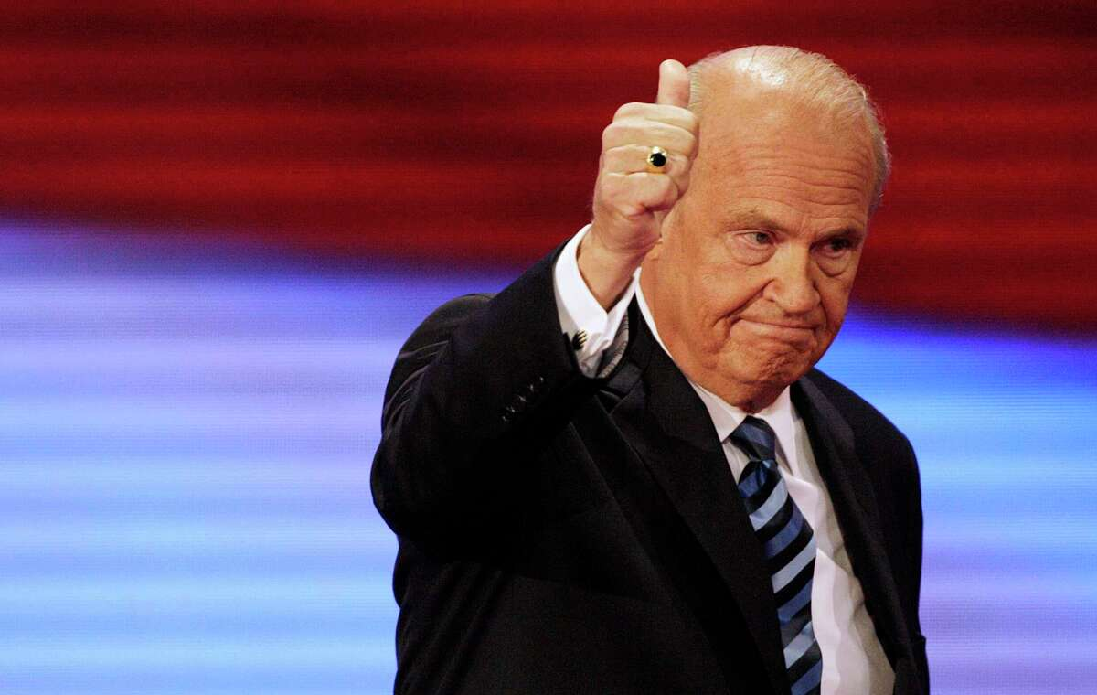 FILE - In this Sept. 2, 2008, file photo, former Sen. Fred Thompson, R-Tenn., gives thumbs up after speaking at the Republican National Convention in St. Paul, Minn. Thompson died, Sunday, Nov. 1, 2015, in Nashville, Tenn., after a recurrence of lymphoma, his family said in a statement. He was 73. (AP Photo/Ron Edmonds, File)