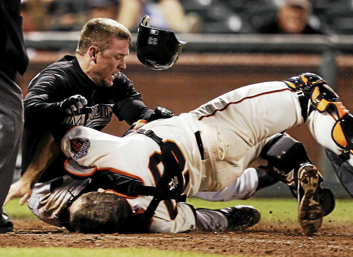 Scott Cousins, whose 2011 collision with Giants catcher Buster Posey ended Posey's season that year, played in Wednesday's Atlantic League all-star game in Bridgeport as a member of the Somerset Patriots.