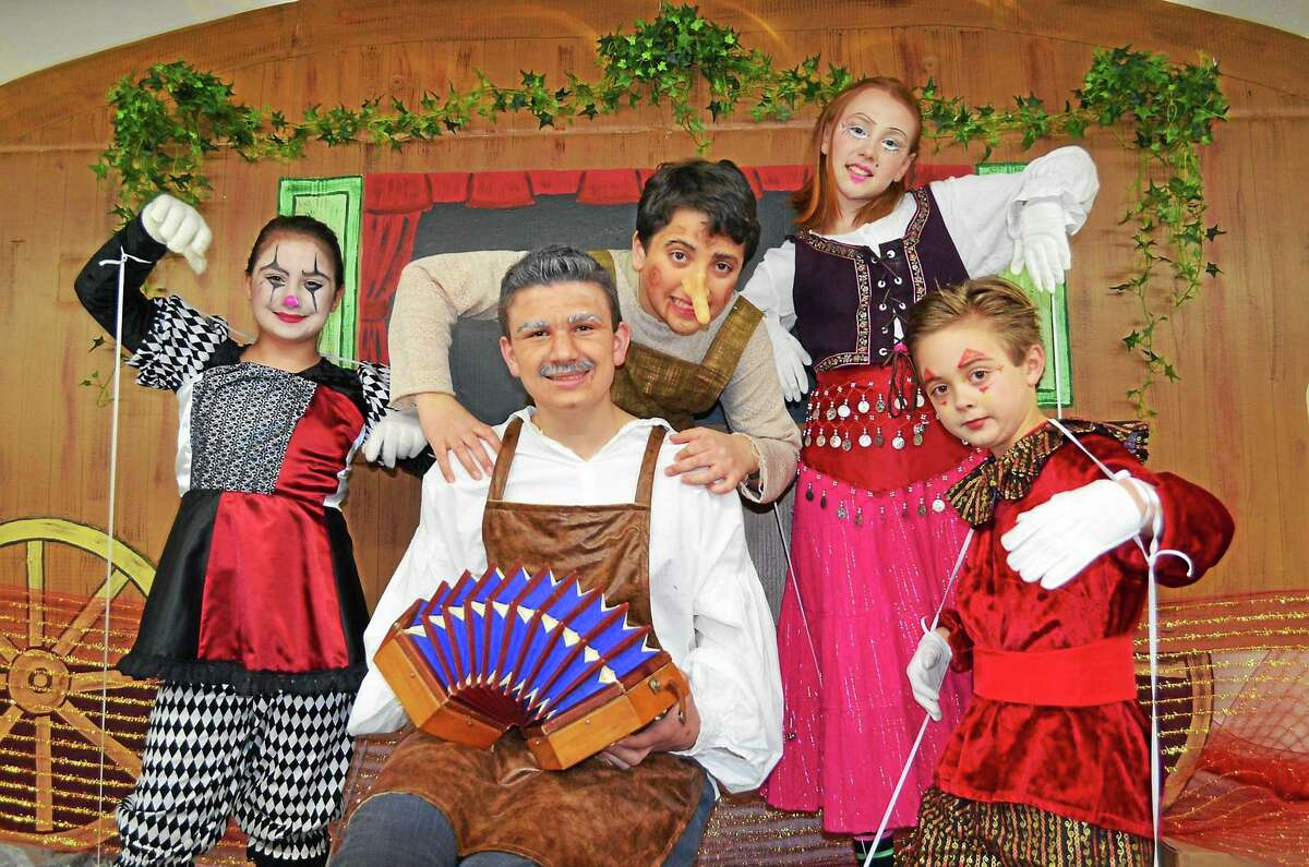 """Contributed photo The cast of """"Pinocchio,"""" from left, includes Mia DiMetro, Ryan Tomicic, Ciro Falanga, Becca Kavanaugh and Ollie Snow."""