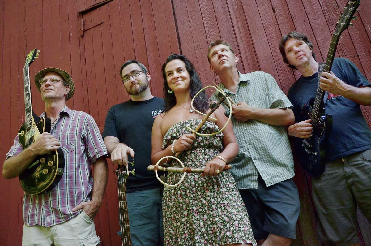 """Tim Sparks, Steve Far, J-Cherry, Kevin Day and Rich Hatfield of J-Cherry and the Strawberries will release their first album, """"In the Belly of the Beast"""" Saturday at The Buttonwood Tree on 605 Main Street in Middletown."""