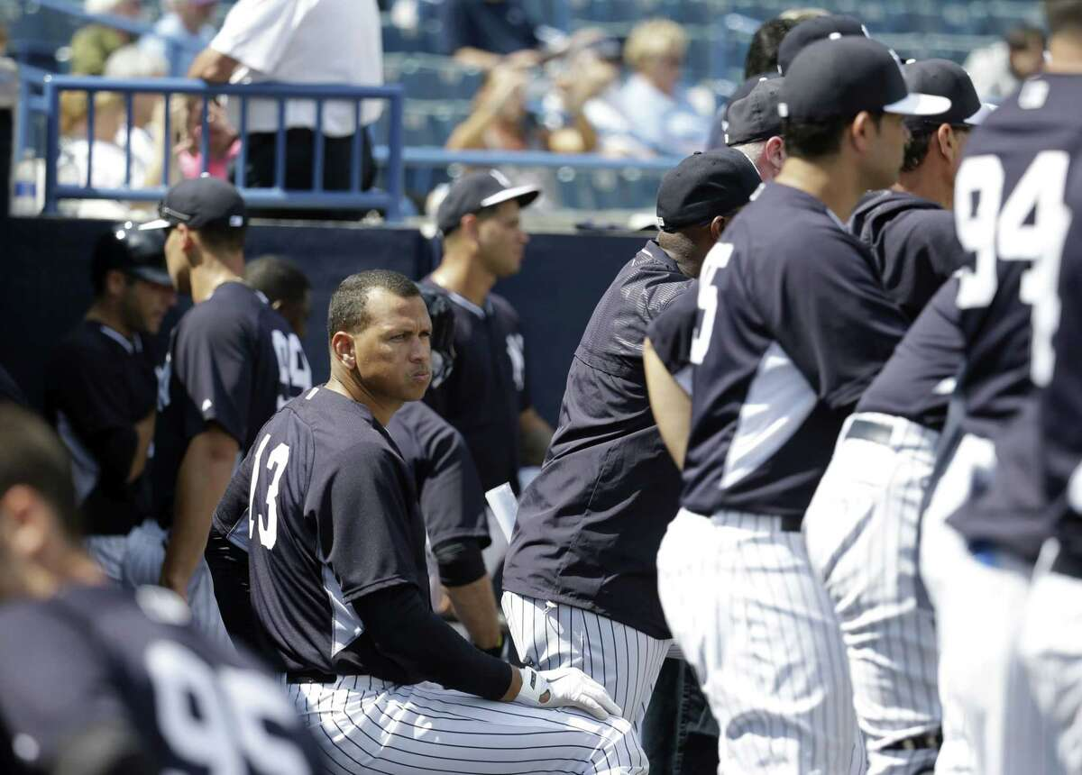 The New York Yankees' Alex Rodriguez watches during a spring training intrasquad game on Monday in Tampa, Fla.