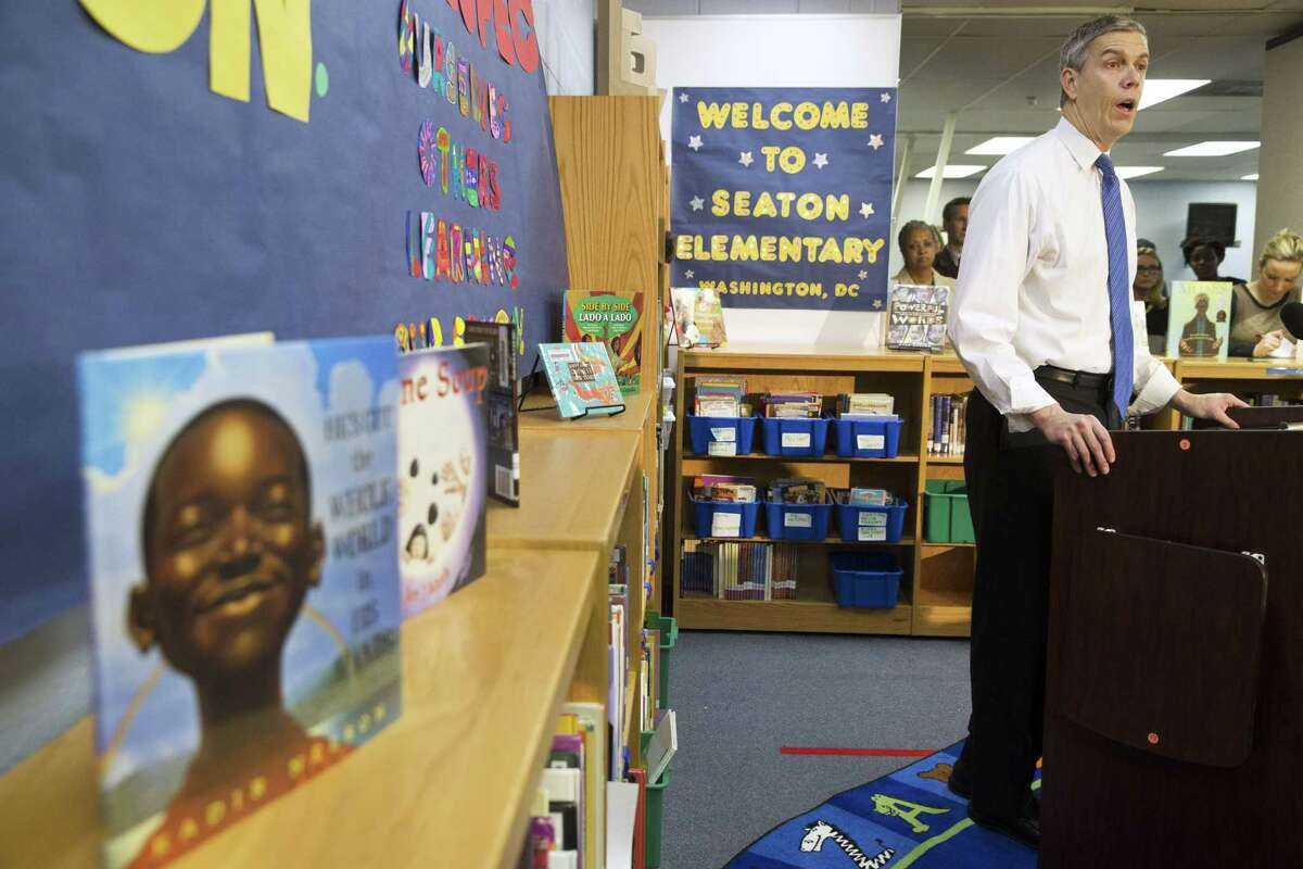 Education Secretary Arne Duncan speaks about the administration's priorities for education at Seaton Elementary in Washington on Jan. 12.