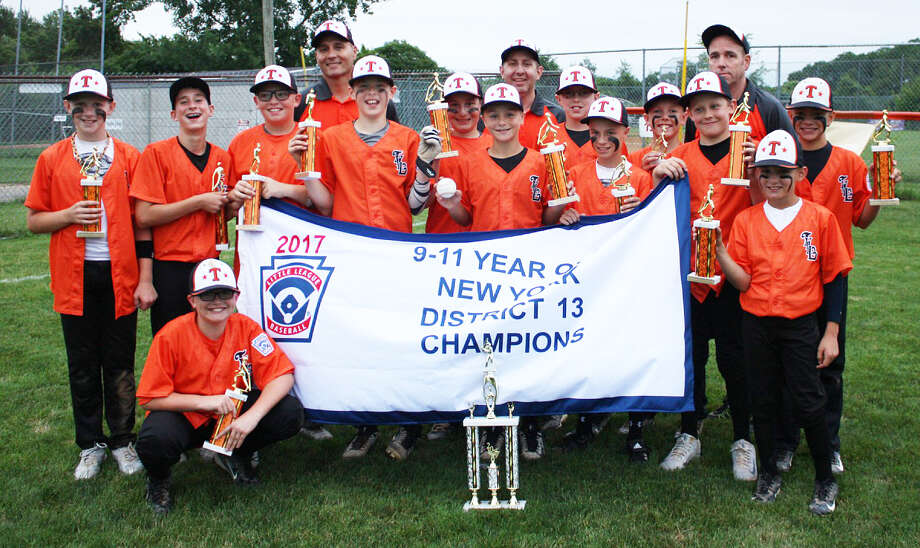 The Tri-Village 11-under all-stars won the 2017 District 13 and Section 2 South Championships. Tri-Village is based out of Delmar. Team members are, from left, Jackson Gray, CJ Franchini, Willem Kotary (kneeling), Brian Carrothers, Drew Kindlon, Jack Vagianelis, Michael Waldenmaier, Jack Fuller, George Abdo, Kieran Kostanoski, Tim Sparks, Joe Monserrat and Danny Battista. Top row: assistant coach Nick Abdo, manager  John Vagianelis and assistant coach Tim Fuller.