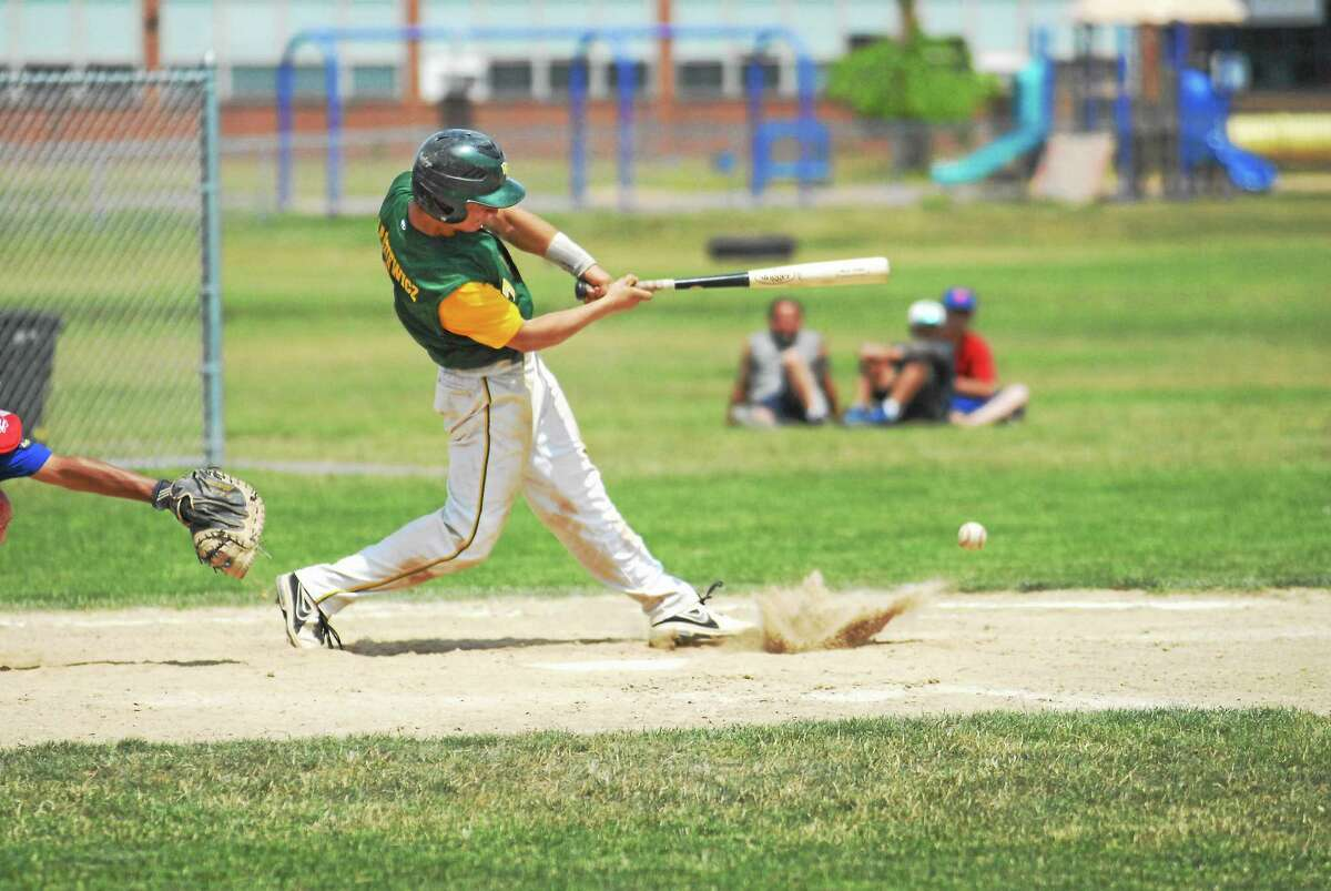 RCP catcher Kevin Radziewicz fouls off a pitch in a Zone 7 contest earlier this season.