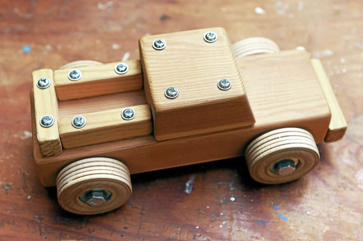 A completed pickup truck wood working kit made by Dances With Wood in Clinton.