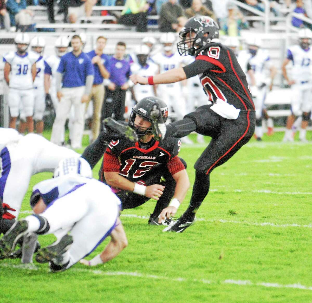 Wesleyan sophomore placekicker Ike Fuchs set a school record with five field goals in the Cardinals' 22-0 win at Williams on Saturday.