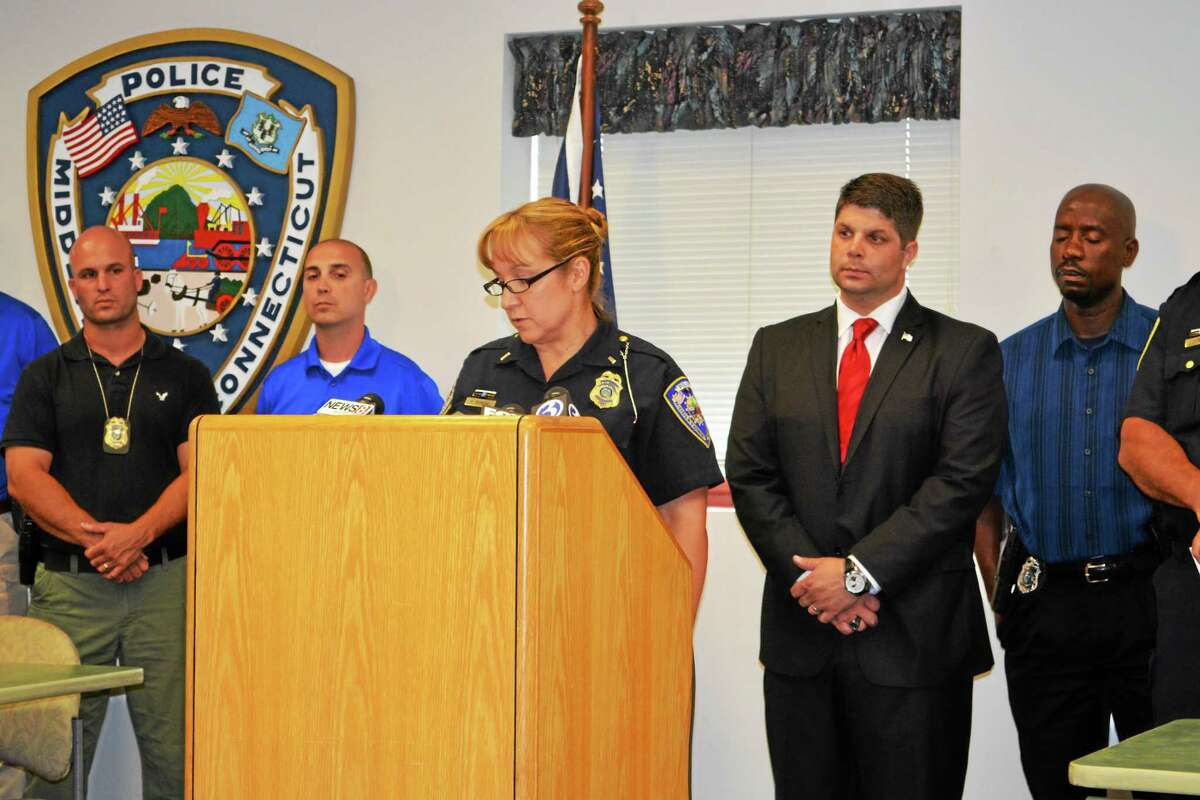 Middletown Police Lt. Heather Desmond speaks at a press conference Wednesday afternoon at which reporters were told Tony Moreno had been charged with murder and murder with special conditions.