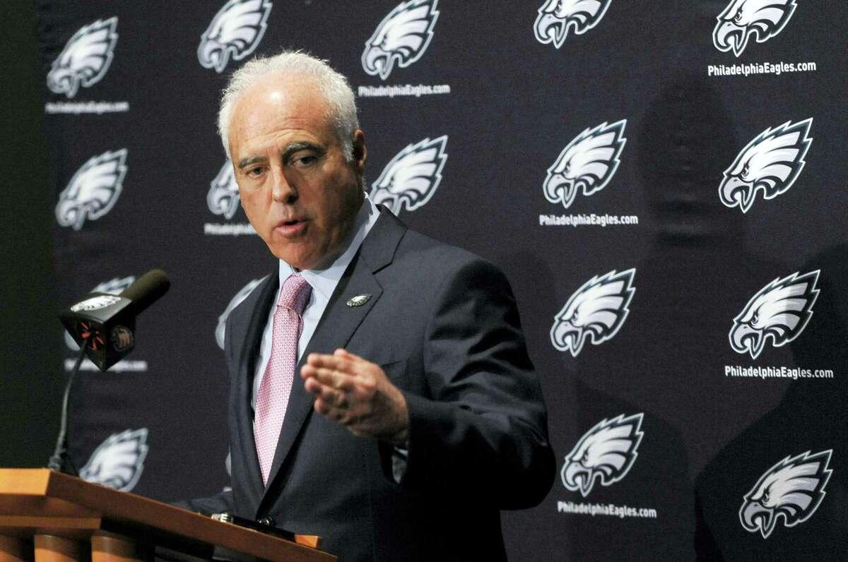 Eagles owner Jeffrey Lurie talks to reporters Wednesday in Philadelphia.