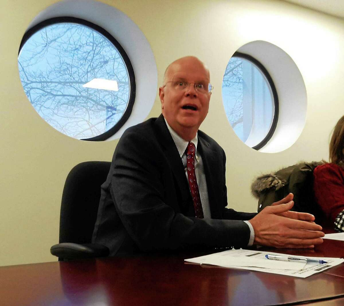 Connecticut Comptroller Kevin Lembo makes a point during an editorial board meeting in February at the New Haven Register.
