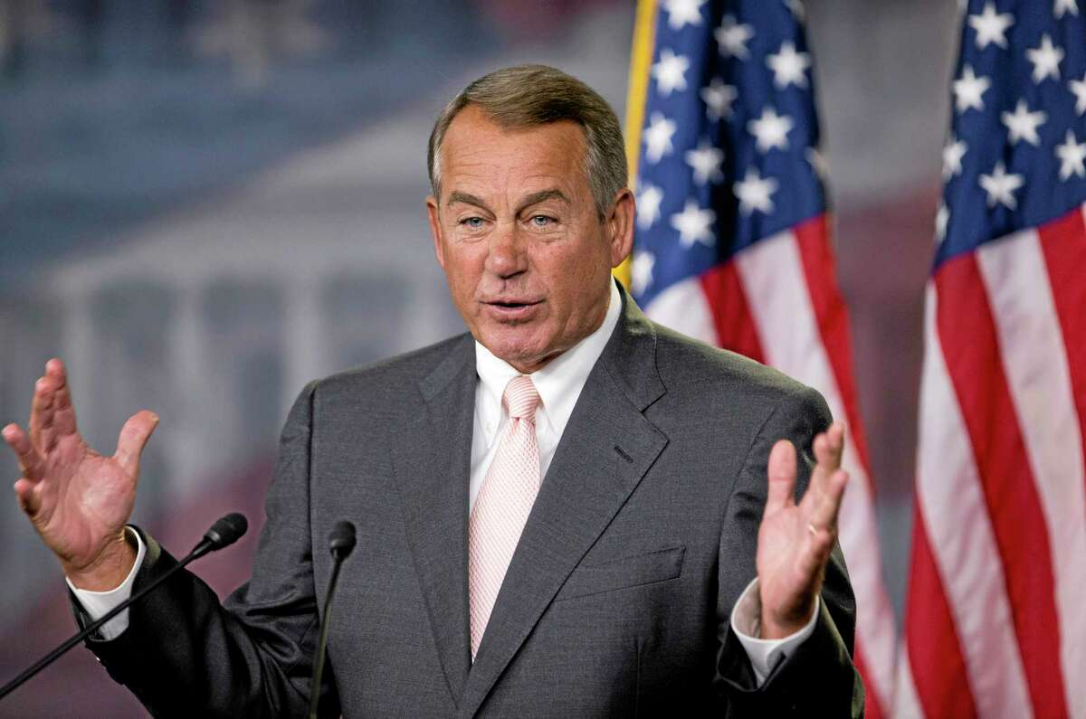 House Speaker John Boehner of Ohio, speaks to reporters on Capitol Hill in Washington, Thursday, July 10, 2014, during a news conference.