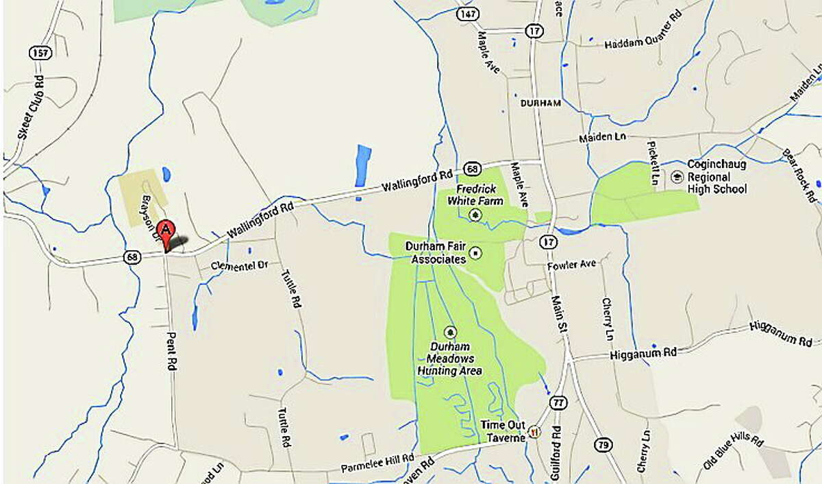 A brush fire closed Route 68 at Pent Road in Durham on Wednesday. It was estimated that the road would be open in four hours or less.