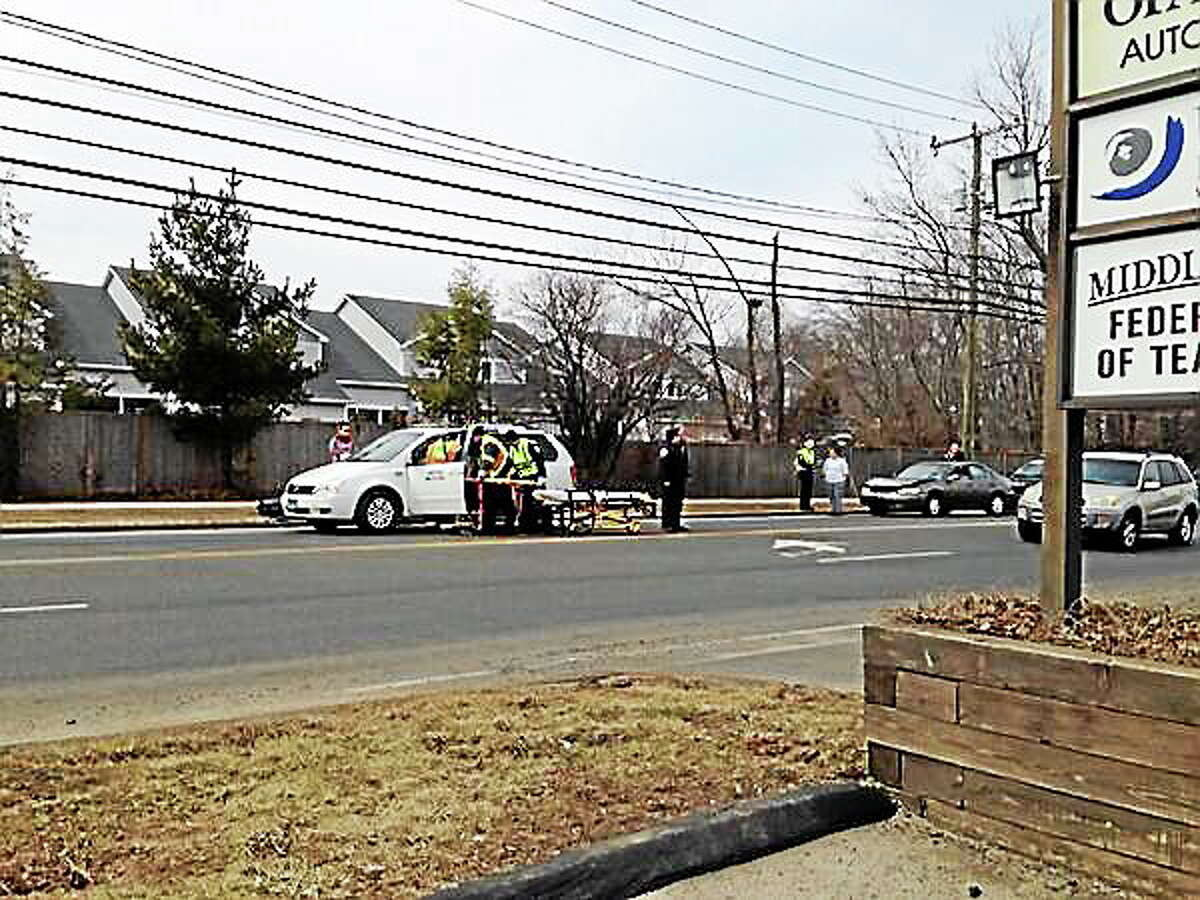 A Dattco minivan was rear-ended by a sedan Wednesday afternoon at Newfield Street and LaRosa Lane in Middletown.