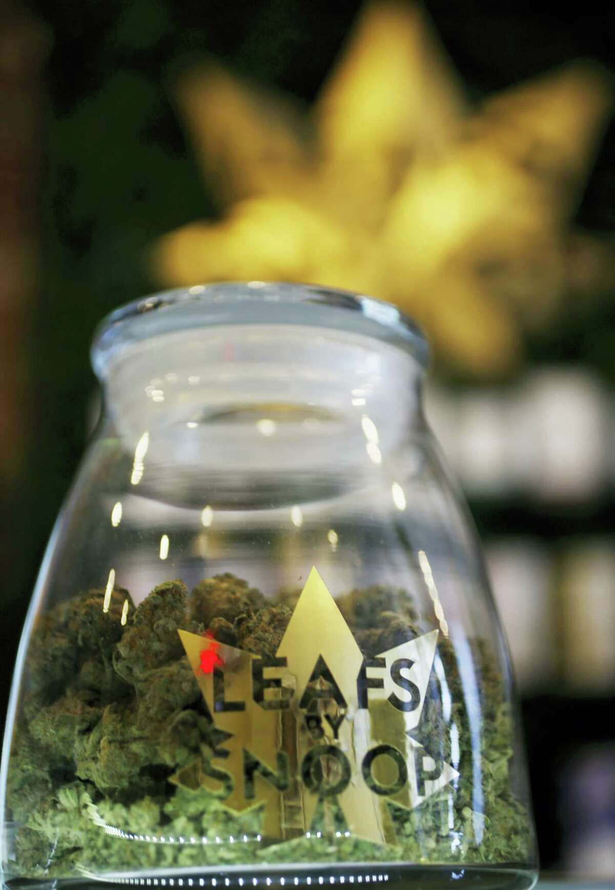 The label on a jar in the marijuana line marketed by rapper Snoop Dogg in one of the LivWell marijuana chain's outlets south of downtown Denver.