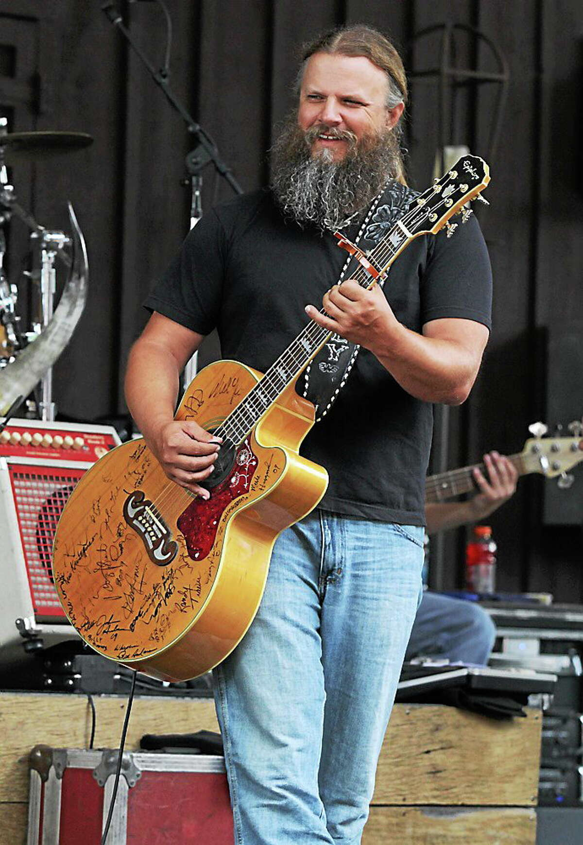 Photo by John Atashian Country music artist Jamey Johnson is shown smiling at one of his band members during their live concert performance June 29 at Indian Ranch in Webster, Mass. This was the opening show at this great outdoor venue Indian Ranch. Other Sunday afternoon performances this summer include BB King, The Marshall Tucker Band, The Bare Naked Ladies, Scotty McCreery, The Mavericks, Bret Michaels, Willie Nelson and many others. To get all the details on this outdoor concert venue you can visit www.indianranch.com.