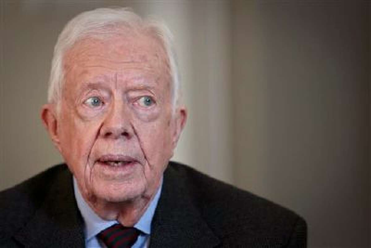FILE - In this Monday, March 24, 2014, file photo, former U.S. President Jimmy Carter speaks during an interview, in New York. On the ?Late Show with David Letterman? Monday, March 24, 2014, Carter said the Crimean annexation was ?inevitable? because Russia considers it to be part of their country and so many Crimeans consider themselves Russian. He also said Russian President Vladimir Putin shouldn?t be permitted to go any further. (AP Photo/Bebeto Matthews, File)
