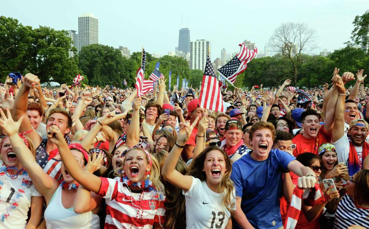 Fans of U.S. Soccer are seen cheering in Chicago's Lincoln Park after a goal by Carli Lloyd during the Women's World Cup final on Sunday.