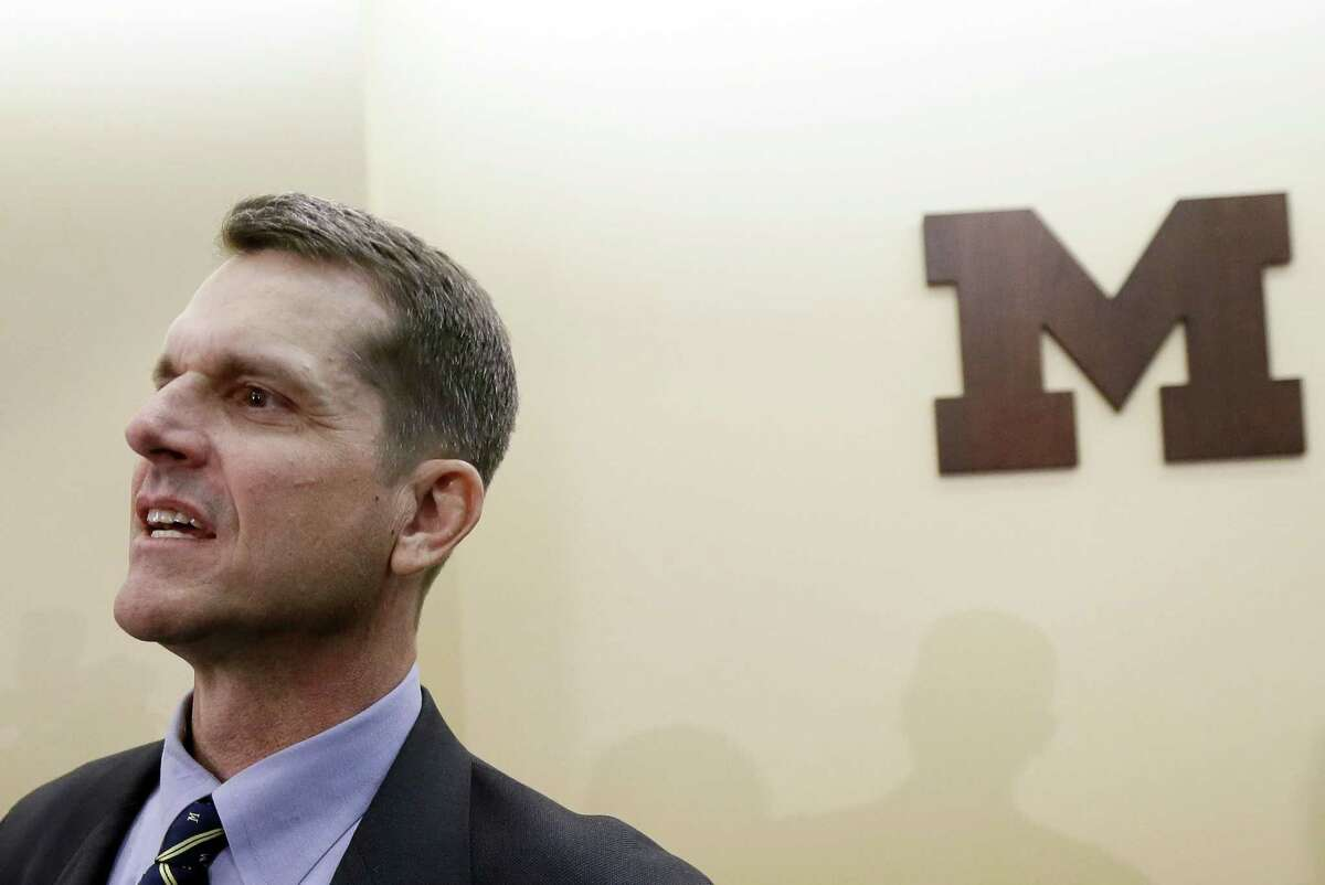 Jim Harbaugh was introduced as the head football coach at Michigan on Tuesday in Ann Arbor.