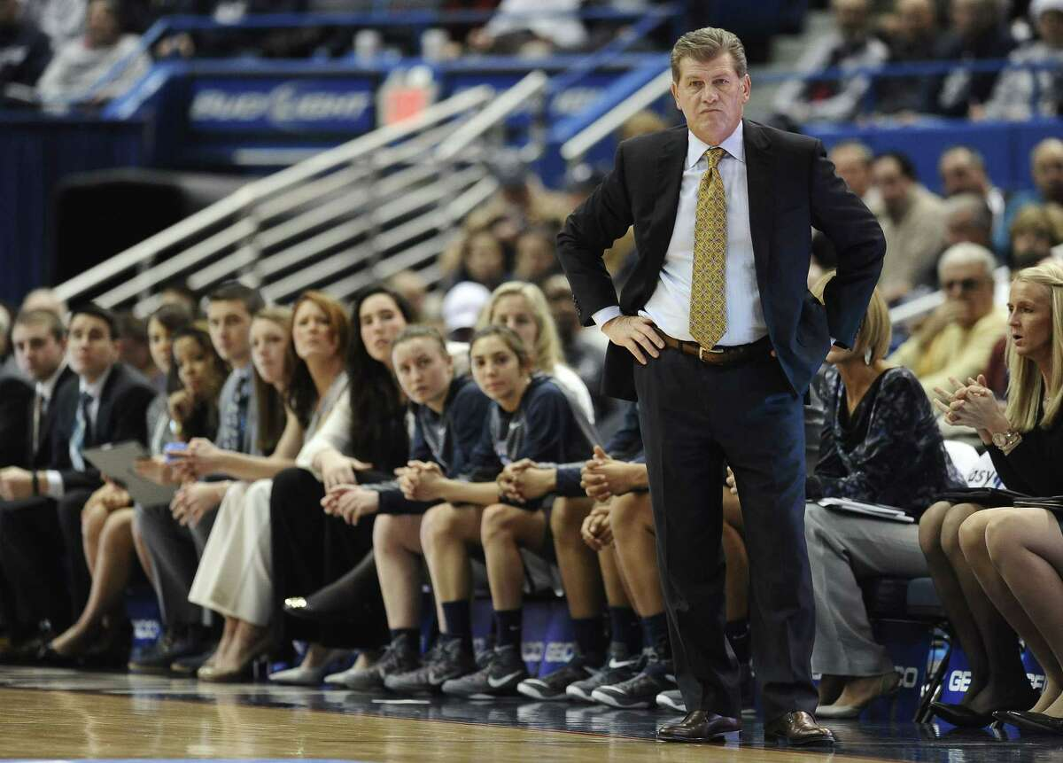UConn coach Geno Auriemma watches play during the first half of Saturday's win over SMU in Hartford.