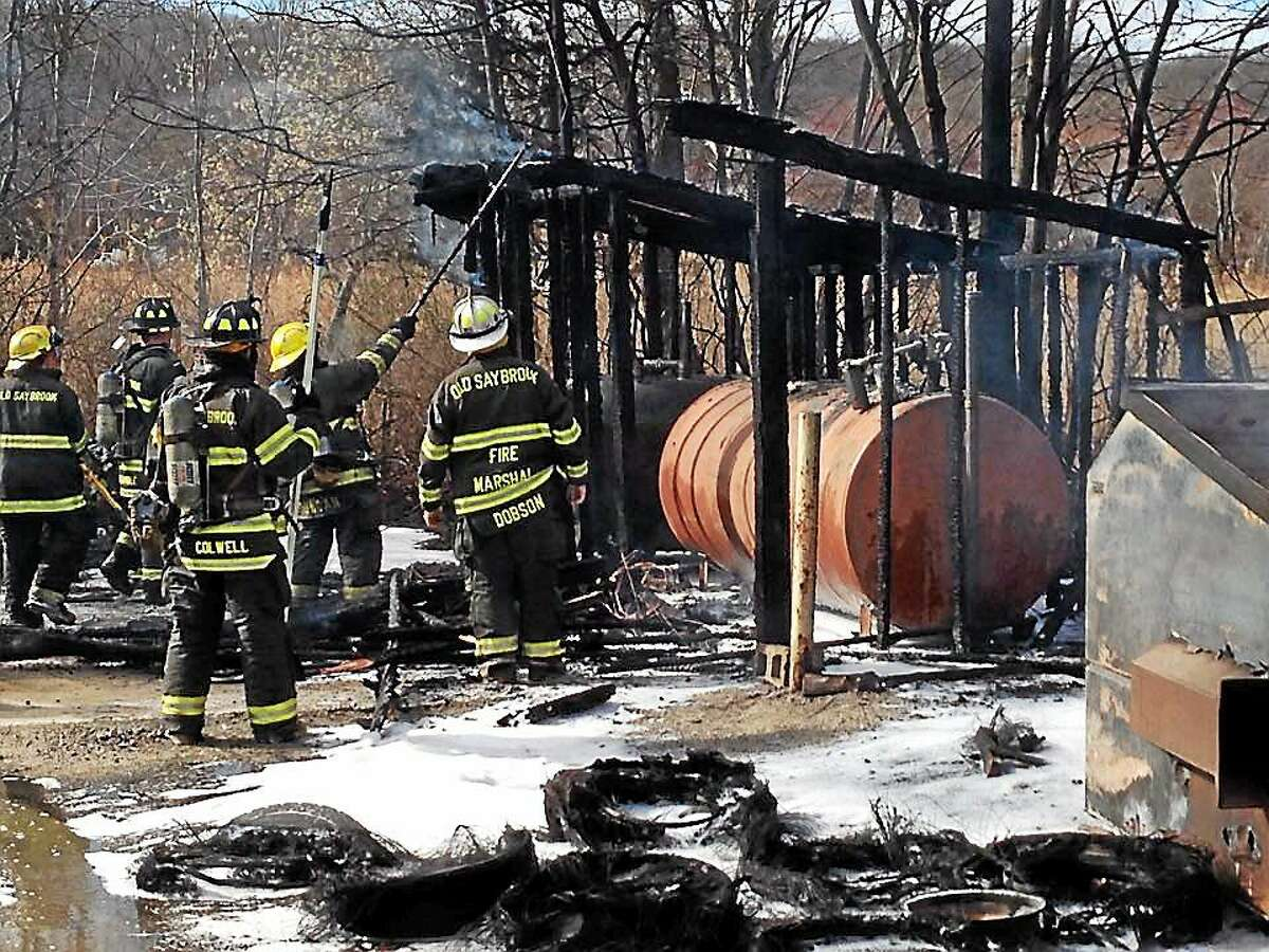 A fire Wednesday at H.A. Latham Moving and Storage in Old Saybrook caused a diesel fuel leak and damage to a nearby marsh.