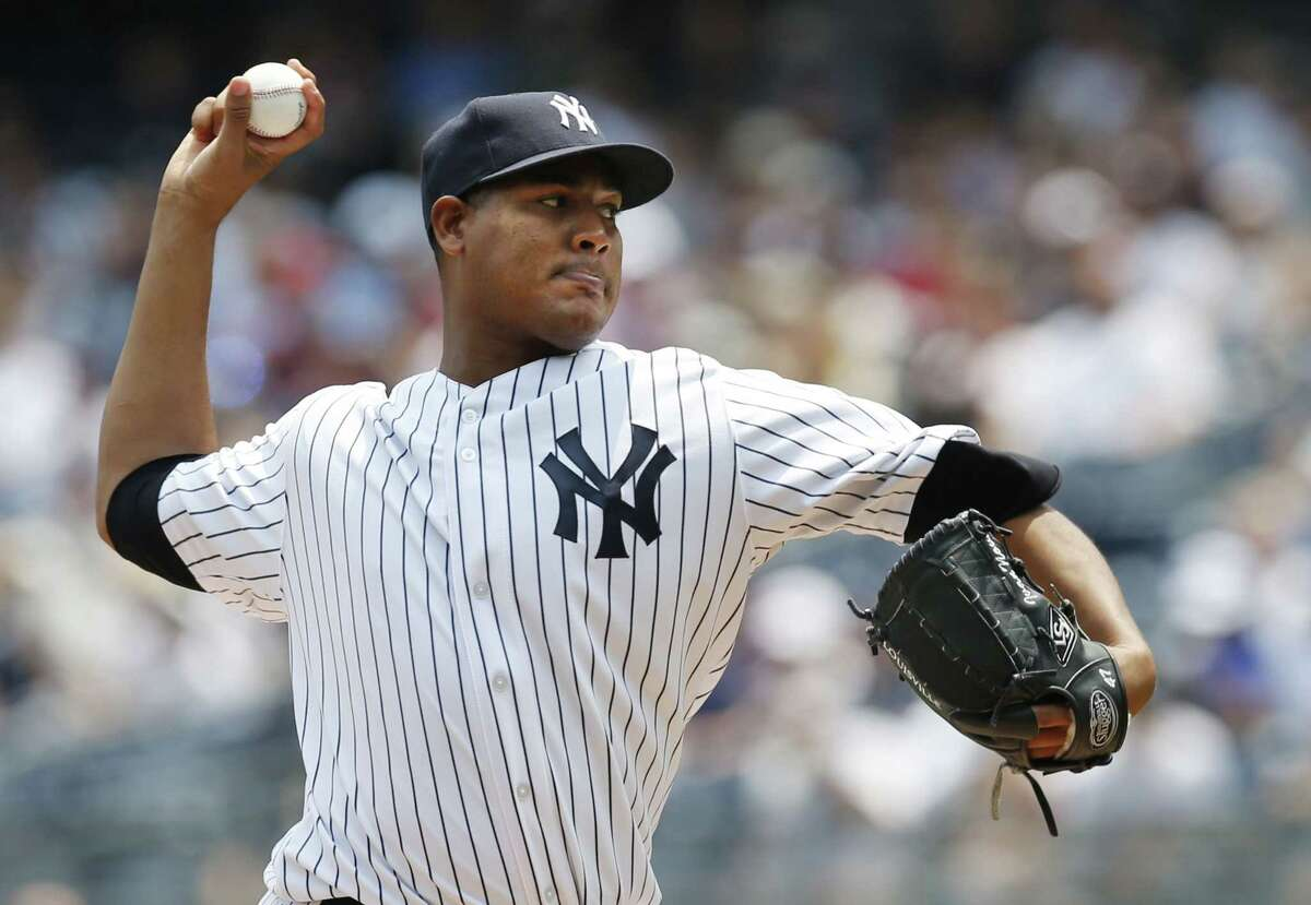 New York Yankees starting pitcher Ivan Nova delivers in the first inning of Sunday's game against the Tampa Bay Rays at Yankee Stadium.