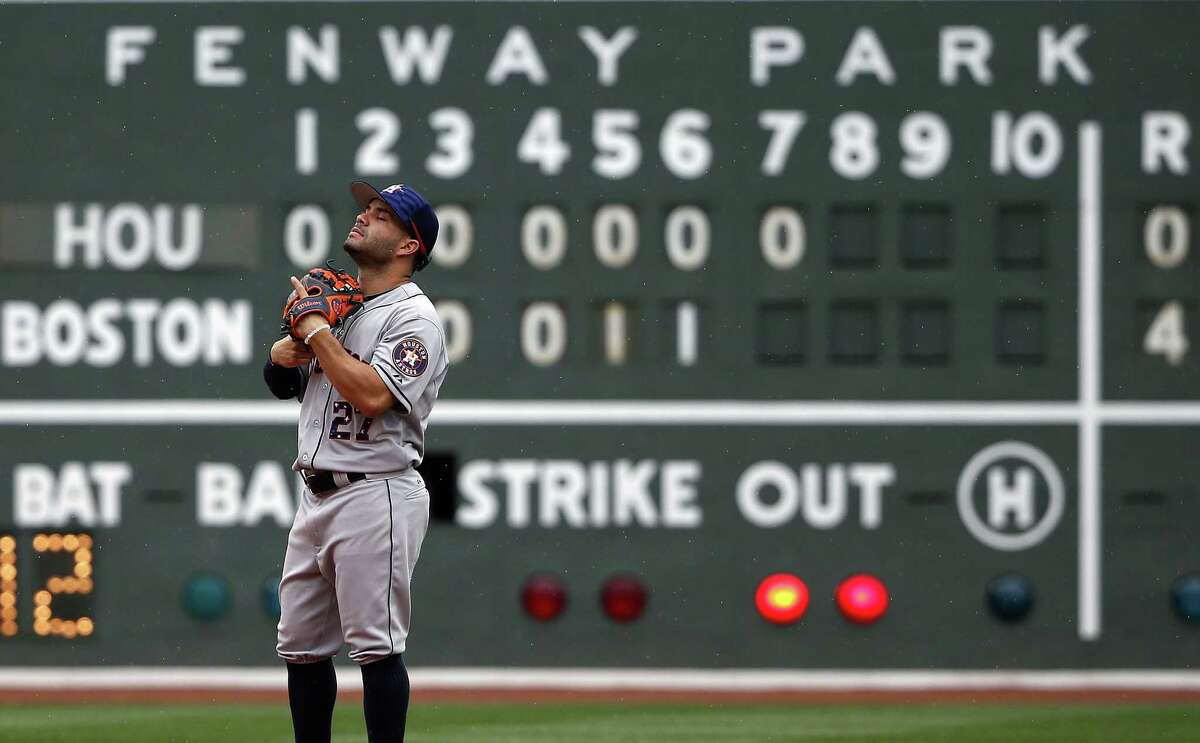 Houston Astros' Jose Altuve waits for a pitch during the seventh inning of a baseball game Boston Red Sox in Boston, Saturday, July 4, 2015. The Red Sox won 6-1. (AP Photo/Michael Dwyer)