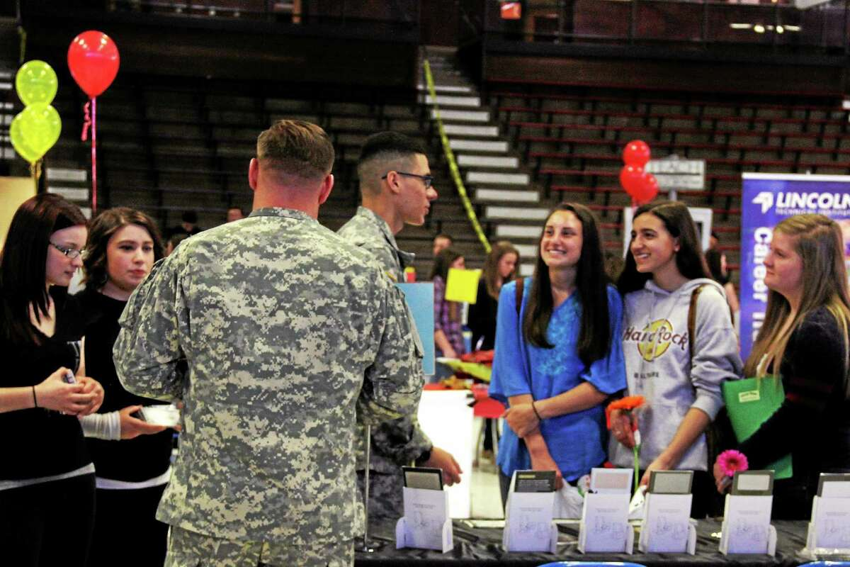 Twelve hundred high school students had a chance to talk about job possibilities during the 10th annual Middlesex County Chamber of Commerce job fair at Wesleyan University on Thursday.