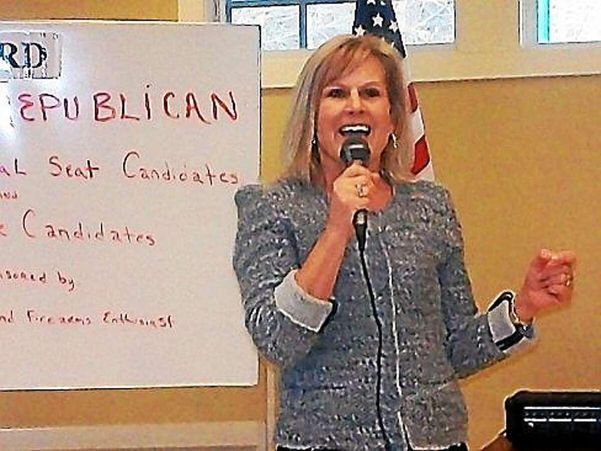 Lisa Wilson-Foley talks to the Woodbury Republican Town Committee in 2012. (CTNewsJunkie file photo, Scott Benjamin)