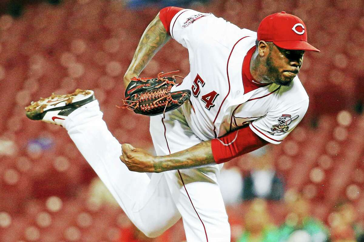 Reds relief pitcher Aroldis Chapman was traded to the Yankees on Monday.